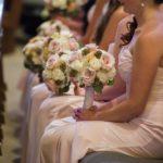 blush bridesmaids dresses, blush bouquets