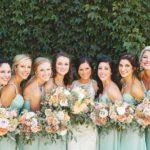 Mint bridesmaid dresses, peach wedding bouquets