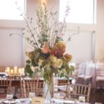 tall centerpiece arrangement, pilsner vase arrangement