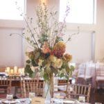 tall centerpiece arrangement, pilsner vase arrangement