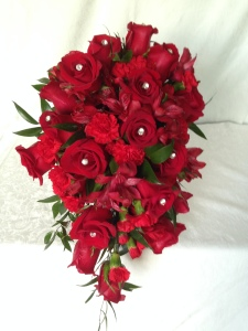 red rose cascading wedding bouquet