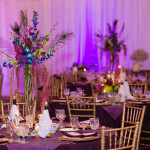 Peacock feather centerpieces, tall vase centerpiece, peacock reception decor