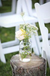 rustic outdoor wedding, mason jar bouquet