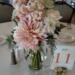 reception centerpiece peach colored
