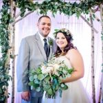 birch arbor, green garland, blush wedding flowers