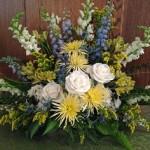 altar arrangement, blue & yellow altar arrangement