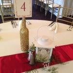 table number holder, glitter sprayed bottle