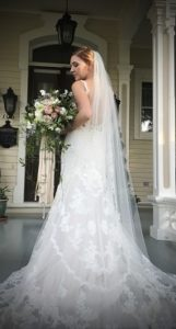 Cascading bridal bouquet with silk ribbons