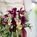 garden inspired bouquet with blush and burgundy blooms