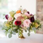 Compote centerpiece autumn blooms