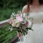 Amnesia and Quicksand roses with white peony, lavender, astrantia, nigella, dusty miller and eucalyptus bridal bouquet.