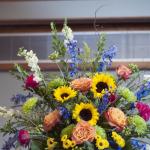 sunflower wedding alter arrangement