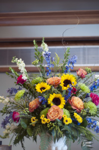 sunflower wedding alter arrangement