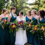 Evergreen bridesmaid dresses, vivid jewel colored bridal bouquets