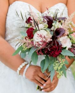 Burgundy calla, blush astilbe, blush roses, bridal bouquet, wedding bouquet