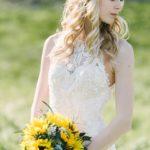 Sunflower bride, floral bridal crown