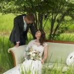 garden roses, ranunculus, sucullent, dusty miller bridal bouquet