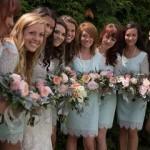 garden rose, peony bridesmaid bouquets