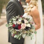 Burgundy and Blush bridal bouquet