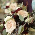 Quicksand rose, burgunday dahlia, privet berries & silver dahlia eucalyptus bridal bouquet