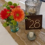 coral gerbera, reception centerpiece decor,
