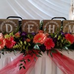 head table decor, coral gerbera spray