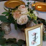 Garden style centerpiece, wood box centerpiece, blush rose centerpiece