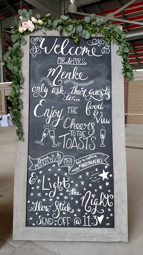 Chalkboard Decor, Garland on chalkboard sign