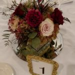 Cube Vase centerpiece with antique hydrangeas, roses & carnations