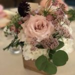 Wedding centerrpiece with woodland box filled with blush flowers