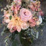 soft fall colors, peach blush bouquet