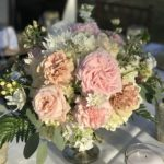 compote vase with garden roses
