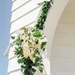Wedding Entrance Decor, white floral swag, church entrance