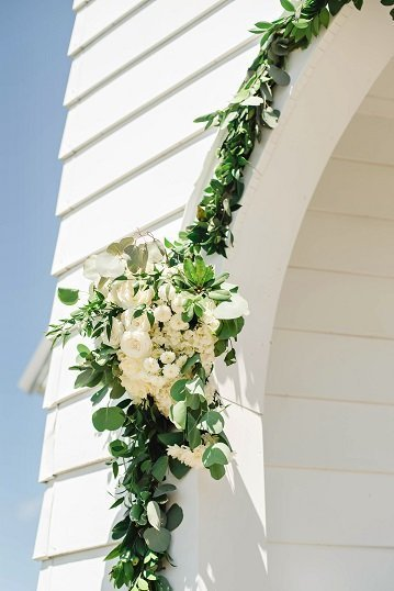 Wedding Entrance Decor, white floral swag, church entrance