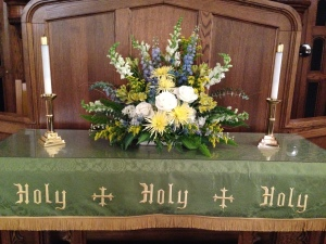 yellow and blue alter arrangement