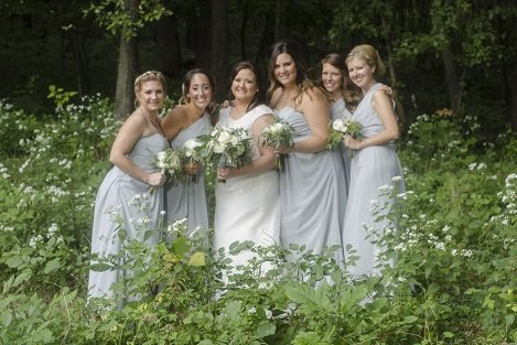 White wedding bouquets, blue gray bridesmaid dresses