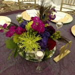 reception centerpiece, floral centerpiece, peacock wedding
