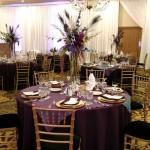 Tall reception centerpiece, peacock wedding, pilsner vase design, reception centerpiece