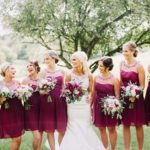 Berry colored bridesmaid dresses.