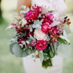 Bridal bouquet with raspberry shades of dahlia and ranunculus, bridal bouquet, garden style bridal bouquet