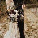 Burgundy and blush gardenstyle bouquet