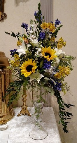 Sunflower wedding, Altar Arrangement, Sunflower Altar Arrangement