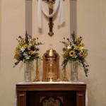 sunflower wedding, altar arrangement, sunflower alter arrangement, blue and white altar decor