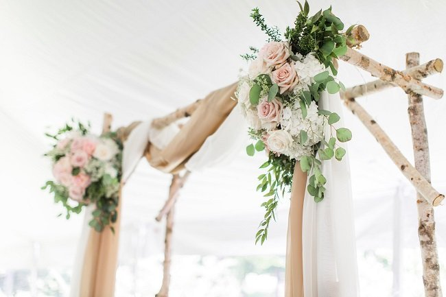 birch arbor, wedding backdrop, floral arbor