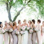 Champagne bridesmaid dresses, blush wedding bouquets