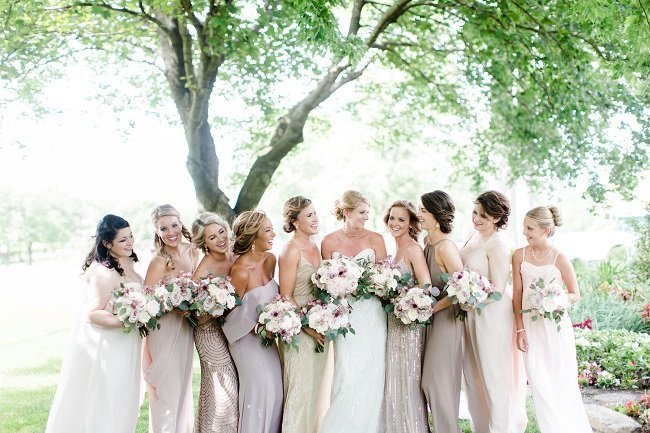 Champagne bridesmaid dresses, blush wedding bouquets