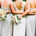 Gray Bridesmaid Dresses, Blush wedding bouquet