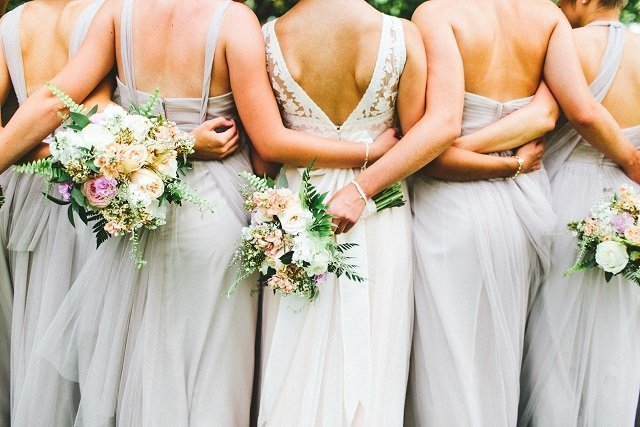 Gray Bridesmaid Dresses, Blush wedding bouquet