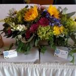 Rustic wooden box centerpiece, sunflower centerpiece