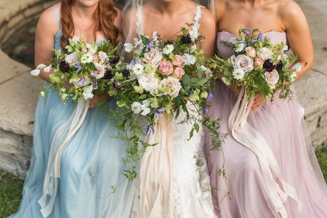 bridal bouquets with cascading foliage and lush blooms